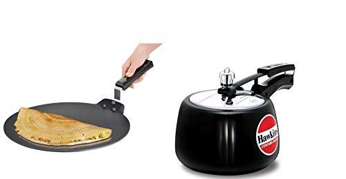 Hawkins Contura Black Hard Anodised Pressure Cooker and Futura Non Stick Dosa Tawa, Combo  3 litres + 28 cm