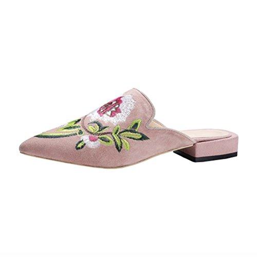 YE Damen Flache Mules Spitze Leder Pantoletten mit Stickrei und Blumen Bequem Slipper Schuhe Rosa