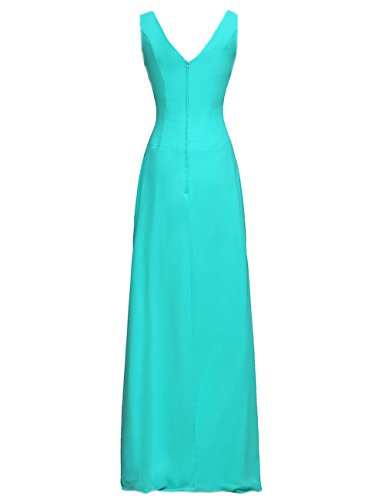 Evening Formal Chiffon Bridesmaid Beads Blue Prom Gowns Cdress V Wedding Dresses Long Ocean Neck zqSHZ