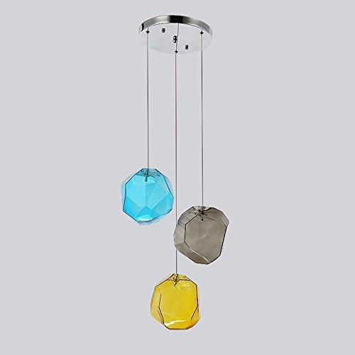 (XHOPOS Home Pendant Lights Simple Modern European Style Retro Glass Color Polygons Restaurant 25Cm B)