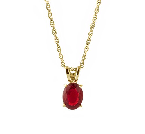 - Galaxy Gold 14k Solid Yellow Gold Pendant Necklace with 1 Carat Natural Oval-Shaped Ruby (18)