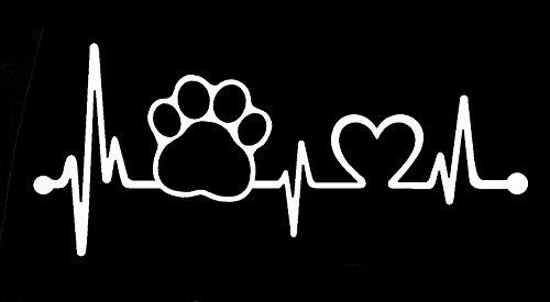 Dog Paw Heartbeat love Decal Vinyl Sticker|Cars Trucks Vans Walls Laptop| White |6.5 x 3 (Best Cci Dog Foods)