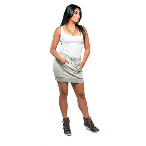7d96db152493b Poetic Justice Curvy Women s Grey French Terry Kangaroo Pocket Mini Skirt  hot sale