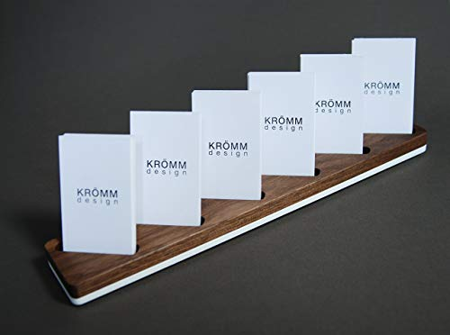 O Business Card Wood Stand, Wood Display for Vertical Business Cards in Walnut and White Acrylic, Multiple Business Card Holder ()