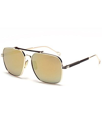 Konalla Vintage Square Flash Mirror UV Protection Unisex Sunglasses C1