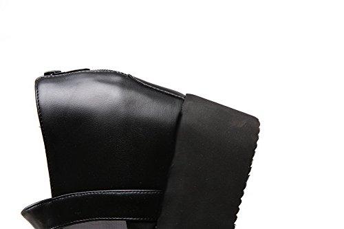 Amoonyfashion Kvinners Mesh Legging Glidelås Pip Toe Høye Hæler Faste Sandaler Svart