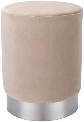 BIRDROCK HOME Round Taupe Velvet Ottoman Foot Stool Soft Compact Padded Vanity Stool