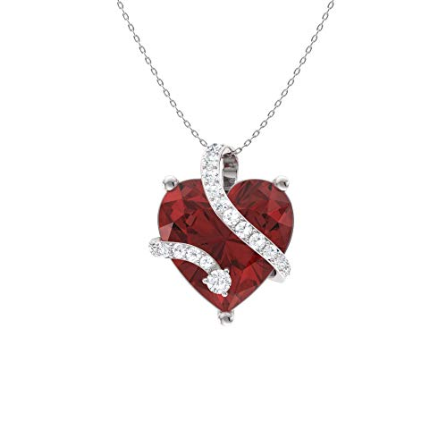 Diamondere Natural and Certified Heart Cut Garnet and Diamond Wrap Heart Petite Necklace in 14k White Gold | 1.68 Carat Pendant with Chain ()