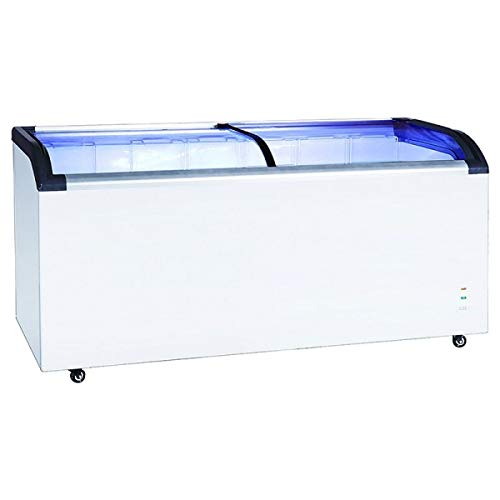 Adcraft BDCF-12-CG Black Diamond Chest Freezer, 12.5-Cubic Feet, Curved Sliding Glass Lid, ()