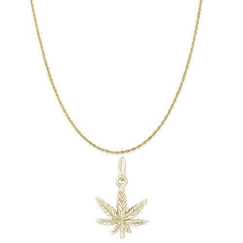 Yellow Gold Marijuana Leaf Charm on a Twist Curb Chain Necklace, 18