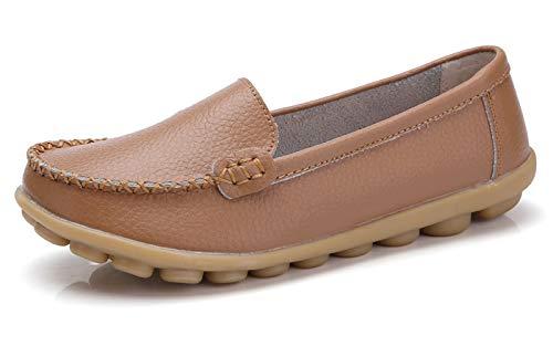 VenusCelia Women's Concise Walking Office Flat Loafer(7 M US,tan)