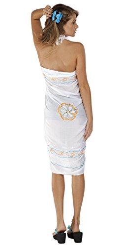 1World para mujer pareos Triple bordado Bañador pareo Blanco