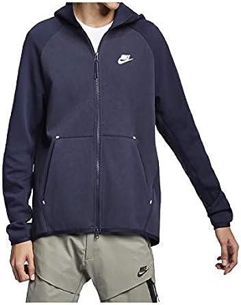 Nike Mens Tech Fleece Full Zip Hoodie Sweatshirt Obsidian Heather/White  928483-473 Size Small