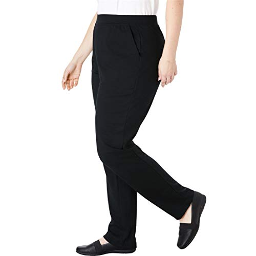Woman Within Plus Size Tall Straight Leg Ponte Knit Pant - Black, 18 T