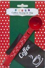 Suitable for sealing or coffee or tea bags 1 1//4 Tablespoon Measuring Scoop Red Candy Cane Christmas Plastic Coffee Scoop and Bag Clip