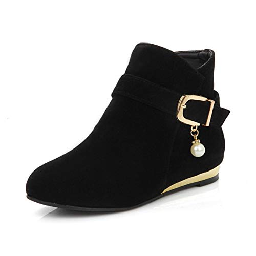 Black US9   EU40   UK7   CN41 Black US9   EU40   UK7   CN41 Women's Bootie Suede Fall & Winter Boots Flat Heel Round Toe Booties Ankle Boots Buckle Black Yellow   Red
