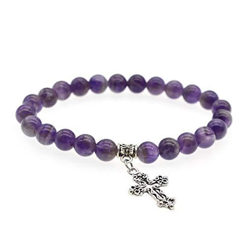 (Gabcus Purple Pink Quartz Stone Cross Bracelet 8mm Beaded Natural Stone Chakra Lava Stone Bracelets pulsera Mujer Hombre - (Metal Color: Amethyst))