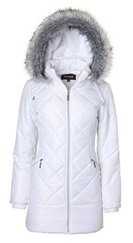 Clothing White Hood (Women's Long Down Alternative Puffer Coat Zip-Off Plush Lined Fur Trim Hood - White (Small))