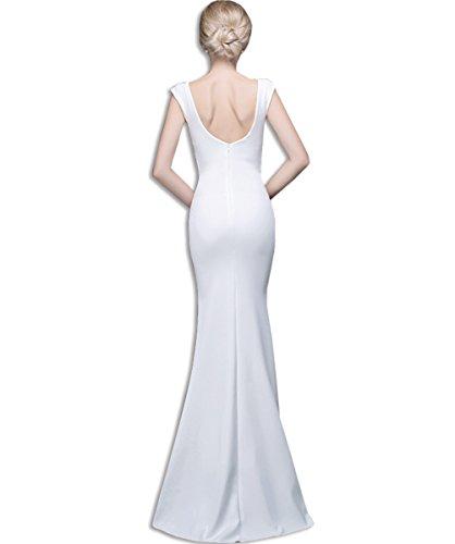 Wedding Neck Ladies V Evening Bridesmaid White KAXIDY Dress Maxi Dress Deep Gown Sexy Evening F0qxw1U4