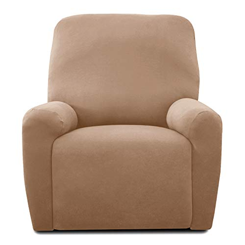 Recliner Stretch Sofa Slipcover,Sofa Cover Furniture Protector Sofa Shield Couch Micro Fiber Super Soft Sturdy with Elastic Bottom Pets,Kids,Children,Dog,Cat(Recliner,Camel