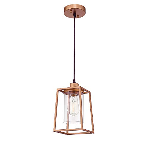 - Emliviar Indoor Mini Pendant Light, Cage Hanging Light Fixture, Antique Gold Finish with Clear Glass Shade, 3046M1L