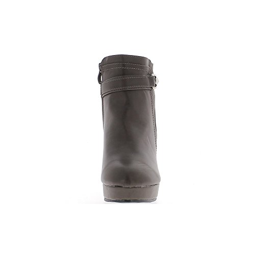 Bottines compensées marron doublées à talon de 10cm simili cuir et croco semelle épaisse