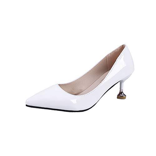 Alto Melocotón Blanco Blanco Femenino Trabajo White Medio Señora alto Elegante Corazón Alto Temperamento Tacón zapatos Rojo Yukun Tacón de tacón con vaIIYq