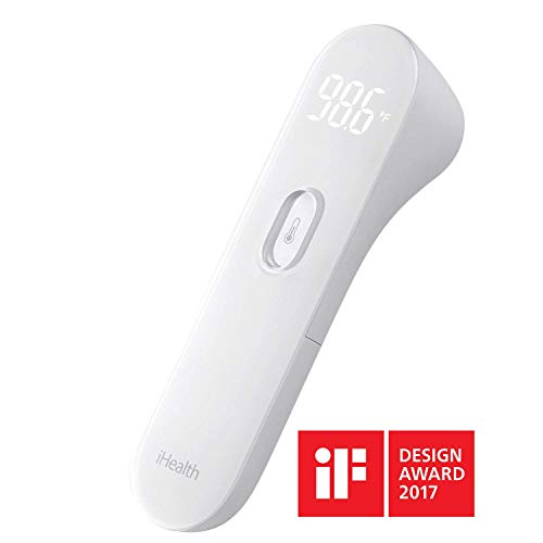 iHealth Infrared No-Touch Forehead Thermometer for Baby, Kids and Adults,1-Second Instant Read with Vibration Notification,Built-in Advanced Thermopile Sensor & Distance Sensor,Large LED Display