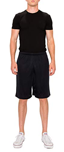 ProGo Athletic Men's Mesh Short with Pockets (Large, Black) ()