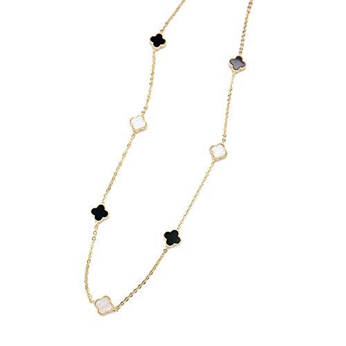 Alhambra White & Black Alhambra Necklace, Silver Alhambra Necklace, Birthday Gift, Long Chain Necklace BN927-2 (Gold) - Alhambra Pendant
