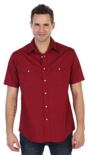 Photo Postcard Fashion - Gioberti Mens Casual Western Solid Short Sleeve Shirt with Pearl Snaps, Burgundy, Medium