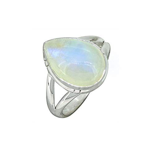 YoTreasure Moonstone Solid 925 Sterling Silver Teardrop Gemstone Ring (Teardrop Ring Gemstone)
