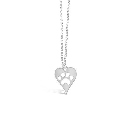 Labrador Dog Print (Dog Paw Necklace, Dog Paw Print Necklace, Dog Puppy Jewelry, Dog Inspired Pendant Necklace (Silver)