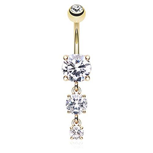 14 GA Golden Gem Cascade Dangle Belly Button Ring Davana Enterprises (Sold Individually Gold Plated) (14GA Clear)