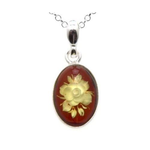 Amber Sterling Silver Oval Cameo Rose Pendant Rolo Chain 18 Cameo Sterling Silver Setting