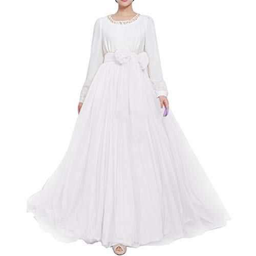 Women Floor Length Long Maxi Puffy Tulle Skirt A Line with Bowknot Belt High Waisted for Wedding Party Evening (White, Medium)