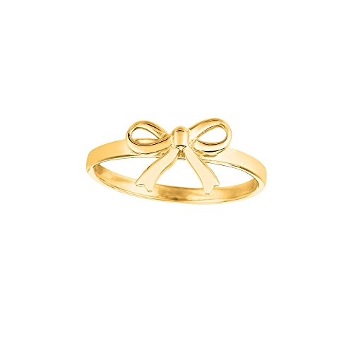 14k Yellow Gold Size 7 Polish Finish Bow Ring by Diamond Sphere
