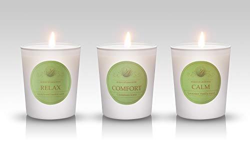 Aubert & Amandine Aromatherapy Scented Candles Gift Set Soy Candle in White Jar Velas Aromaticas - Lavender Vanilla, Sandalwood Jasmine, Cinnamon Apple