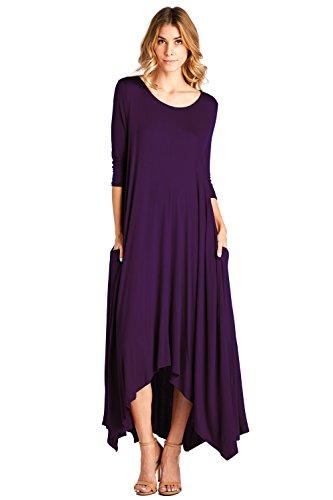 (12 Ami Solid 3/4 Sleeve Pocket Loose Maxi Dress Purple 1X)