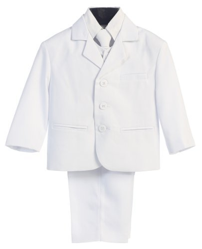 5 Piece White First Communion or Christening Suit with Shirt, Vest, and Tie - Size -