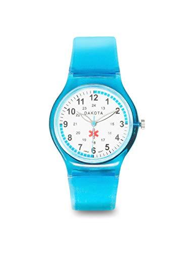 Dakota Easy Clean Water Resistant Plastic Nurse Watch with Lightweight Translucent Color Band (Blue - Model 27369) (Dakota Watch Bands)