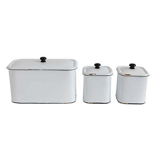 Creative Co-Op DA8344 Set of 3 Distressed White Decorative Metal Boxes with Lids by Creative Co-op