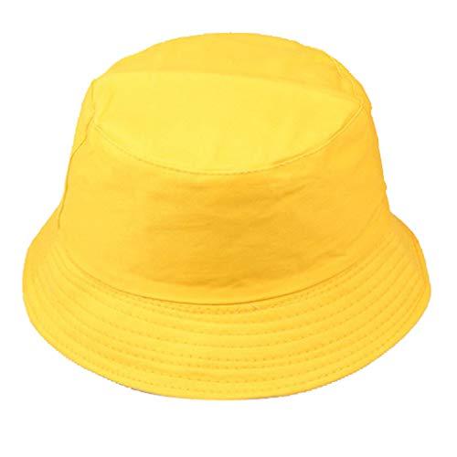 Dressin Women Men Unisex Fisherman Hat Fashion Sun Protection Cap Outdoors Hat Solid Color Flat Top Sun Hat Yellow