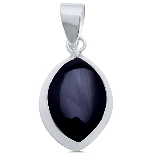 Marquise Simulated Diamond Sterling Pendant (Simulated Black Onyx Marquise .925 Sterling Silver Pendant)