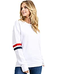 Women's Ultra Soft Fleece Solid Taping Crew Neck Sweatshirt