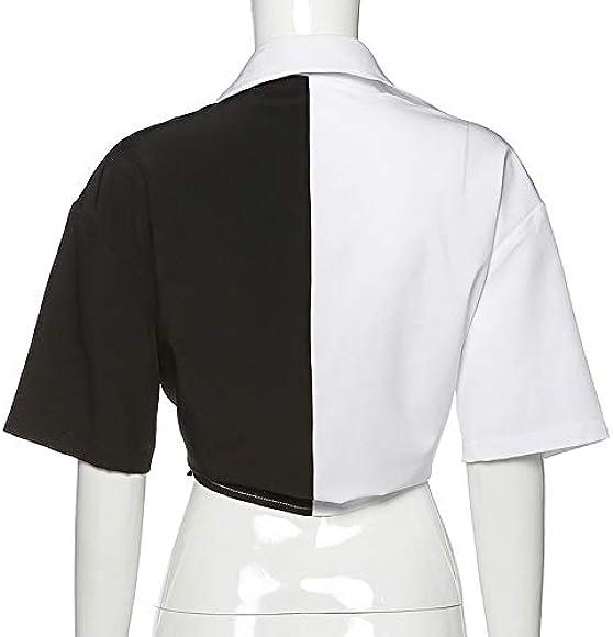 Camiseta de Mujer Harajuku Streetwear Camisa de Manga Corta de Retazos Blanca y Negra Tops Cortos de Encaje Suelto: Amazon.es: Ropa y accesorios