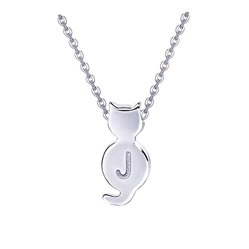Initial Cat Necklaces Sterling Silver Letter Necklaces Dainty Simple Necklaces for Women Girls (J)