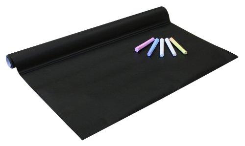 Idena 260025 - Tafelfolie selbstklebend, inklusive 5 Kreiden, 45 x 200 cm, schwarz