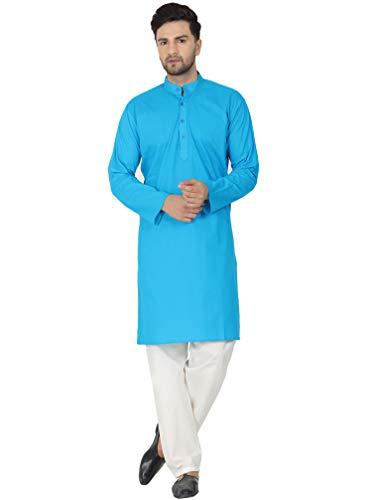 SKAVIJ Men's Tunic Cotton Kurta Pajama Indian Yoga Casual Dress Set