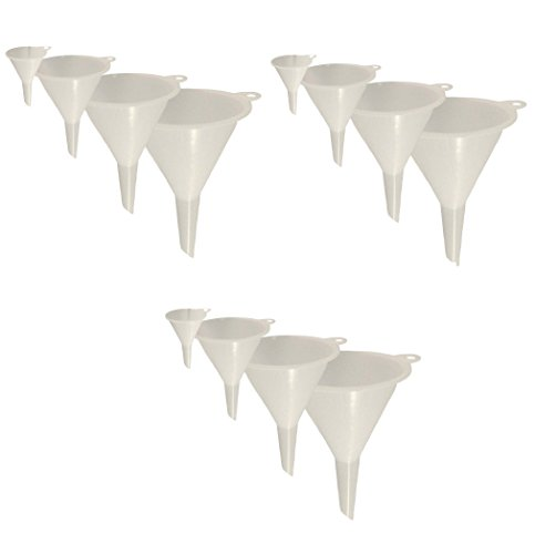 Purpose Funnel Set - Set of 12 General Purpose Plastic Funnels, Assorted Sizes Nested Funnel Set